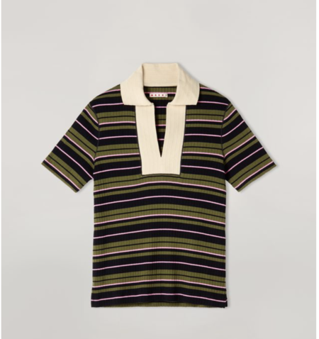 MARNI Jersey Striped Polo Neck T-Shirt - Ribbed Stripe