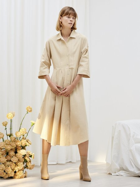 Kowtow Casa Shirt Dress - white/gold