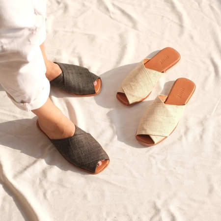 INNÉ Studios Kara Wide Cross Strap Slide - Ivory