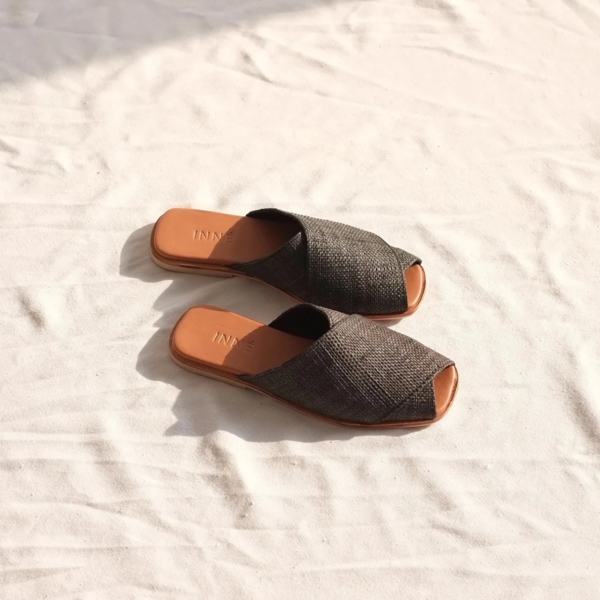INNÉ Studios Kara Wide Cross Strap Slide - Ebony