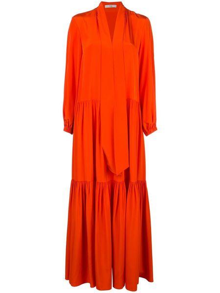 TIBI Heavy Silk Tie Neck Ruffle Dress - Blood Orange