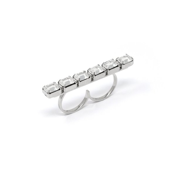 Joomi Lim Crystal Bar Double Finger Ring - Rhodium/Crystal