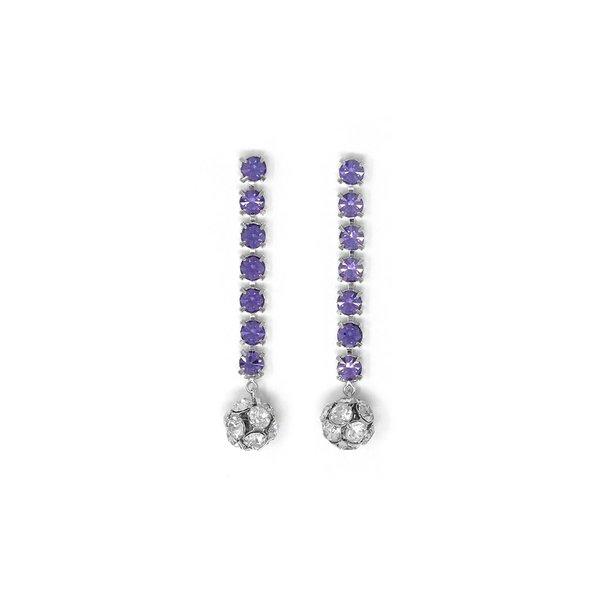 Joomi Lim Crystal Chain Earrings W/ Crystal Balls - Rhodium/Lavender/Crystal