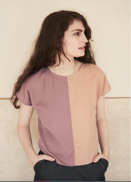 Elise Ballegeer Sonia Contrast Top - Primrose/Clay