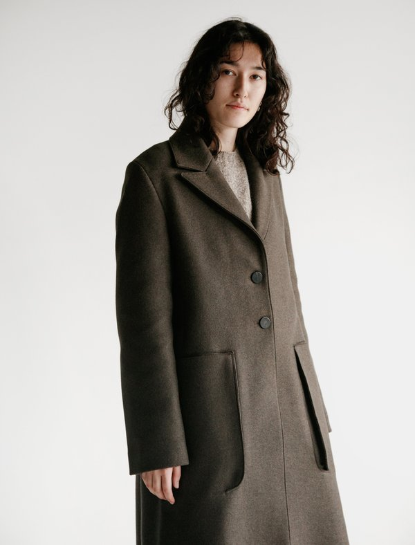 Studio Nicholson Ounce Double Faced Wool Coat - Forest