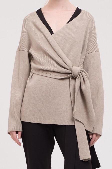 JOA Samantha Wrap Sweater - Oatmeal