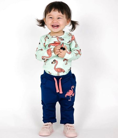 KIDS TAO & FRIENDS Flamingo Body suit and sweatpant set
