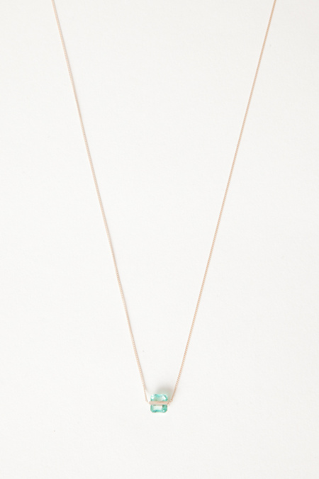 Januka Square Emerald Necklace with Gold Chain - 14K GOLD