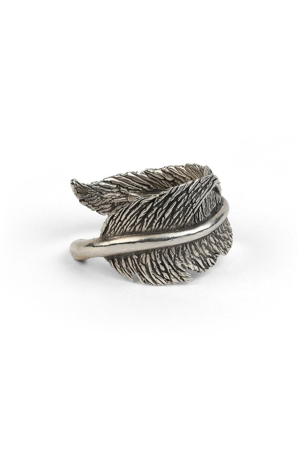 M. COHEN Silver Casted Feather Ring