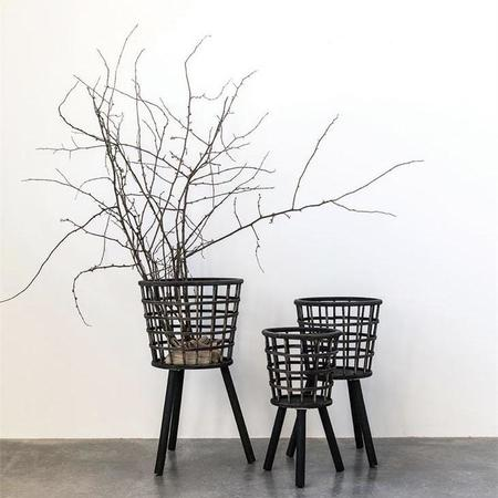 Creative Co-Op Bamboo Baskets with Wood Legs - Black