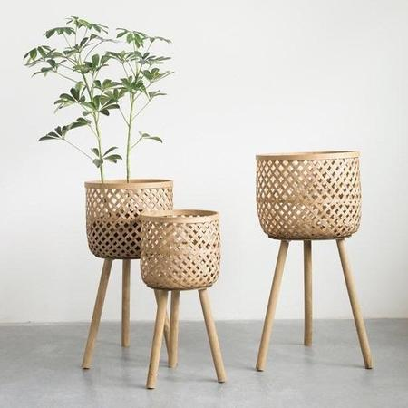 Greenwood Shop Woven Bamboo Baskets with Wood Legs