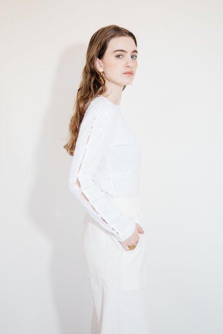 Nikki Chasin SIMA CREWNECK - WHITE CRINKLE
