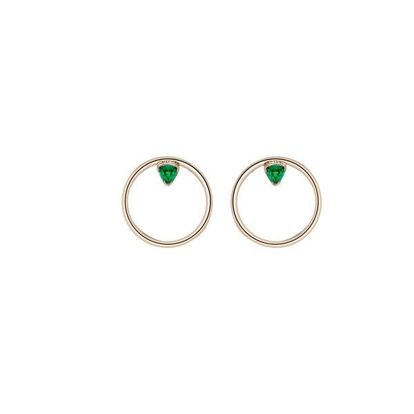 Shahla Karimi Emerald Birthstone Hoop Studs - 14k gold