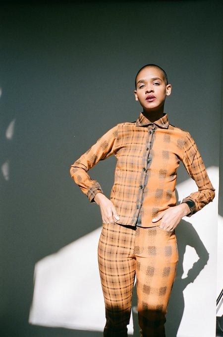 Gauntlett Cheng Double Plaid Shirt - Black/Orange
