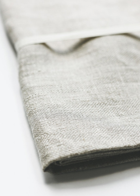 Le Fil Rouge Bath Sheet - Natural Herringbone Weave