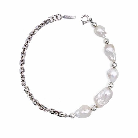 Justine Clenquet Laurie Freshwater Baroque Pearl Choker - Palladium