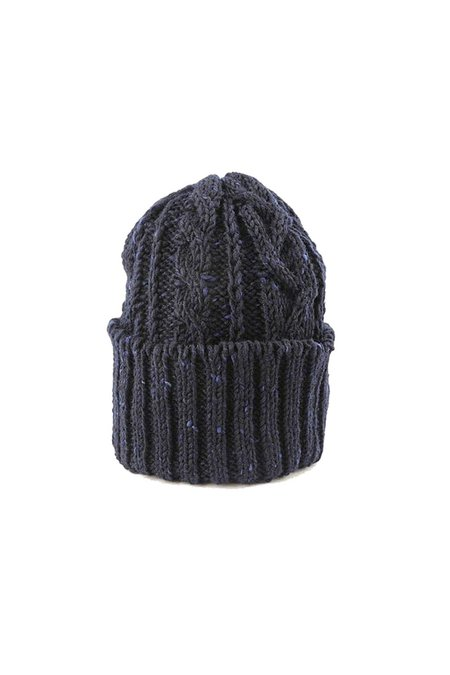 TANNER GOODS Cable Knit Cap - Navy