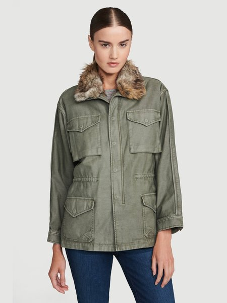 FRAME Denim Service Jacket with Faux Fur Lining - MILITARY GREEN