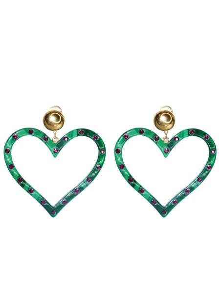 RACHEL COMEY Affection Earring - Malachite/Rhinestone