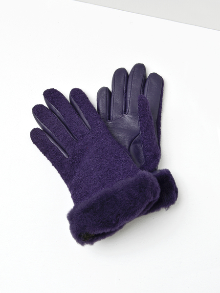 UGG FABRIC LEATHER SHORTY GLOVE - NIGHTSHADE