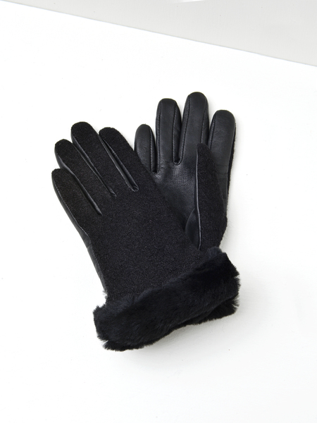 UGG FABRIC LEATHER SHORTY GLOVE - BLACK