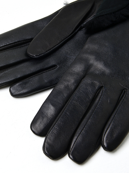UGG COMBO SHEEPSKIN TRIM GLOVE - BLACK