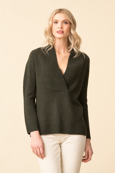 Vince Ribbed Shawl Collar Tunic - Moss