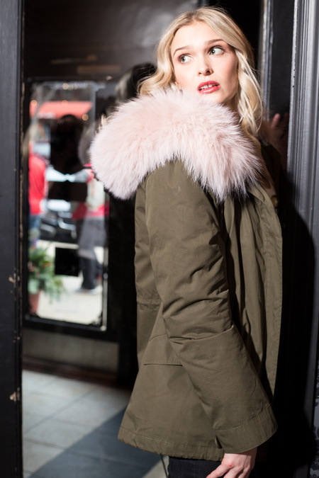 Yves Salomon Army Bachette/Rabbit/Fox Trim Jacket - Hunter Green/Pink