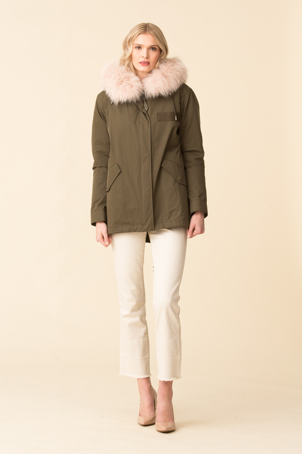 Yves Salomon Army Bachette/Rabbit/Fox Trim Jacket - Hunter Green/Pink