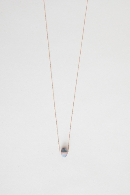 Januka Large Oval Opal Necklace with Gold Chain