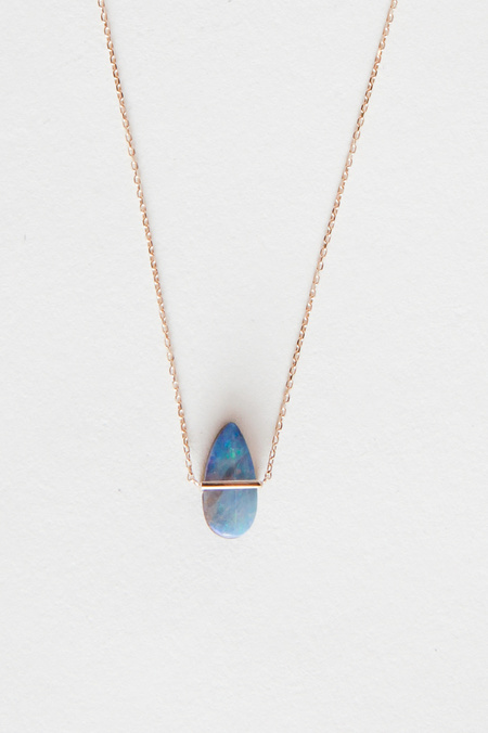 Januka Teardrop Opal Necklace with Gold Chain