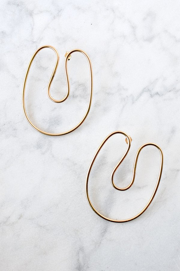 Annika Inez Sloping Curve Earrings Large - gold