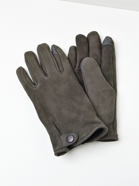 UGG M TABBED SPLICE VENT LEATHER GLOVE - CHARCOAL