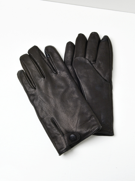 UGG M TABBED SPLICE VENT LEATHER GLOVE - BLACK
