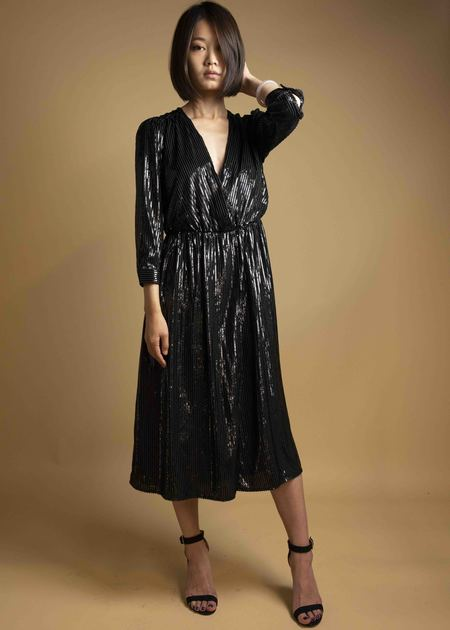 SEE U SOON Shimmery Striped Dress - BLACK
