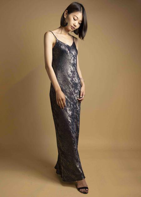 CURRENT AIR Velvet Metallic Foil Bias Cut Spaghetti Strap Dress - NAVY BRONZE