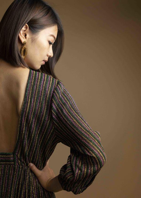SEE U SOON Metallic Striped Backless Dress - Rainbow