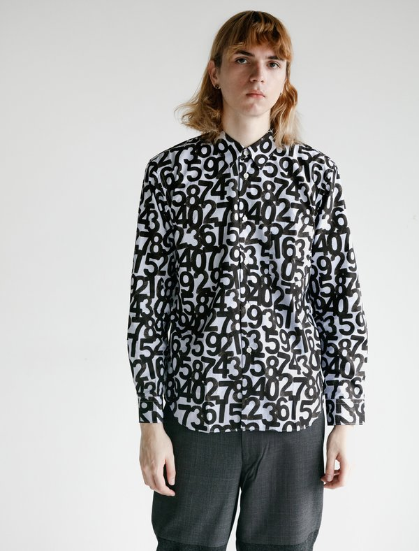 Comme des Garçons Homme Deux Cotton Broad Shirt - Stripe/Figures Pattern Print