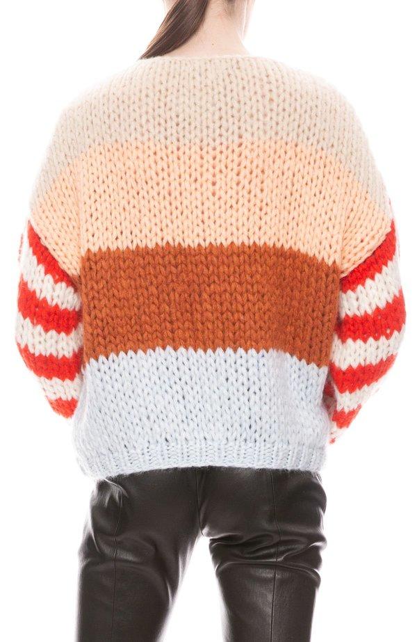 Maiami Big Sleeve Cashmere Sweater - Copper Stripe Variation