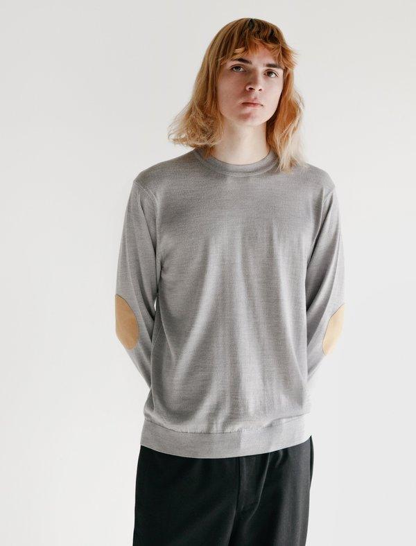 Niuhans Fine Gauge Wool Elbow Patch Sweater - Light Grey