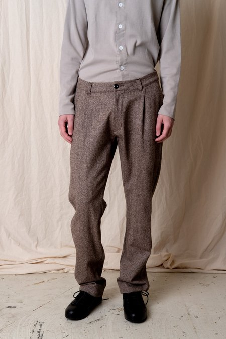 House of St. Clair SINGLE PLEAT TROUSER - MARL TWEED