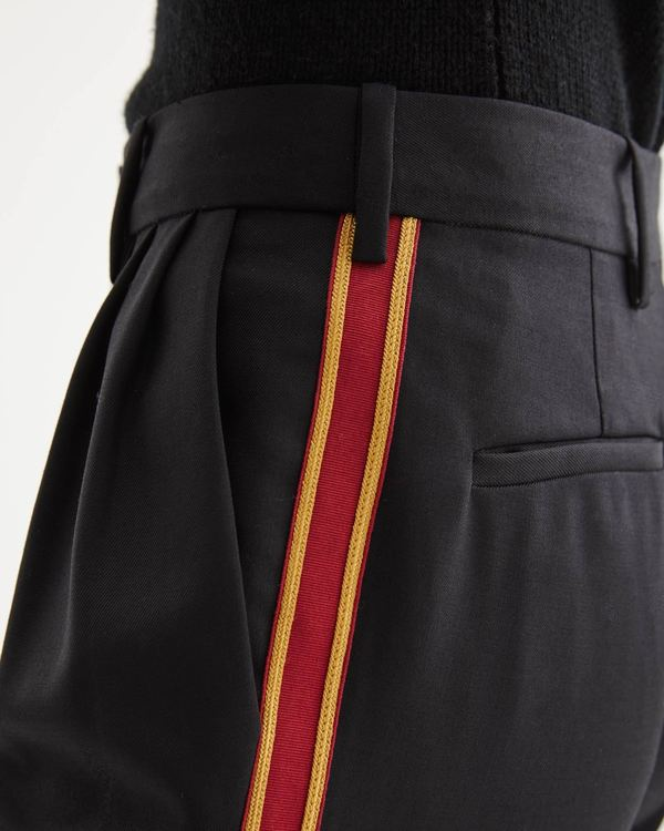 Nili Lotan Montana Pant - Black with Red/Gold Tape
