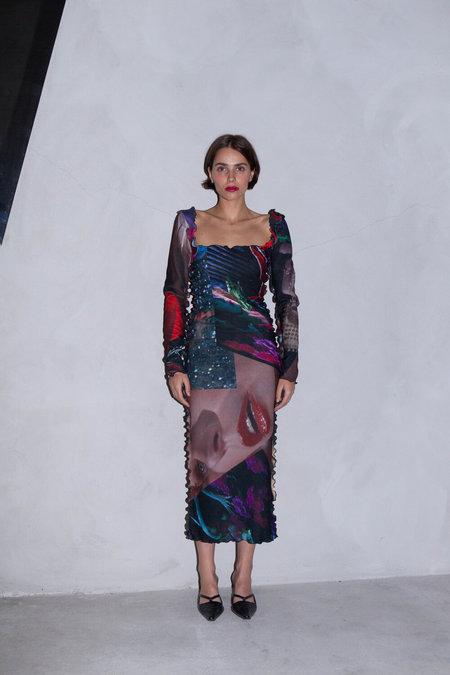AUNÉ GIALLO CREPE PRINT LONG SLEEVE DRESS