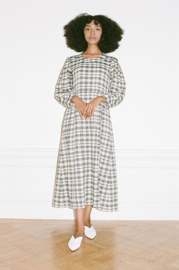 Wray Bardot Dress - Grey Check