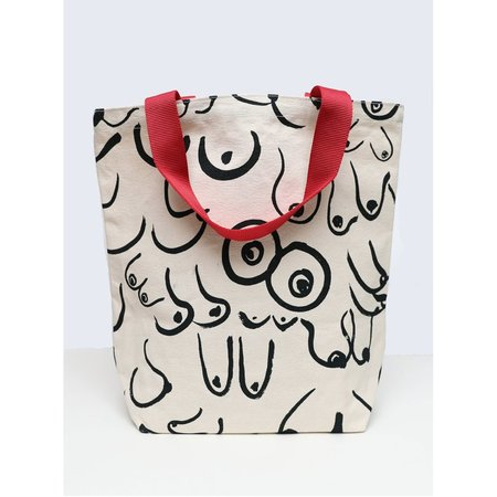 Gravel and Gold Boobs Tote - White