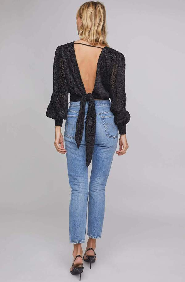 ASTR The Label Ronan Tie Back Top - Black