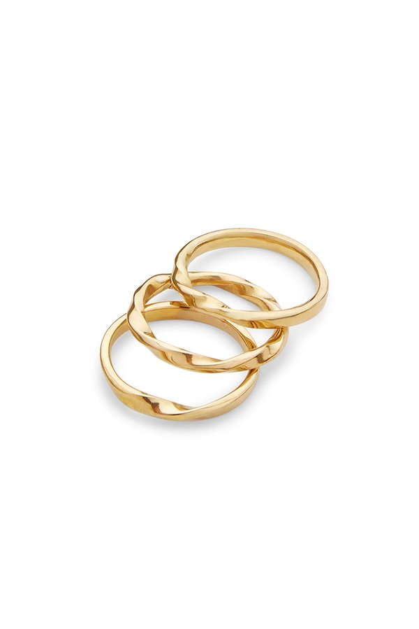Soko Twist Stacked Rings - Brass