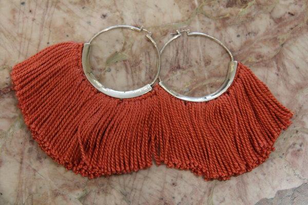 Erin Considine Silk Ridge Fringe Earrings - silver