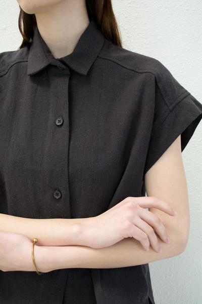 Micaela Greg Pieced Sleeve Button Up - Black