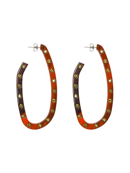 RACHEL COMEY Maya Earrings - Wood Brown/Rhinestone